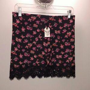 Forever 21 stretchy scuba floral black mini skirt
